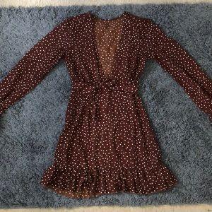 Brown polka dot dress- NEVER WORN